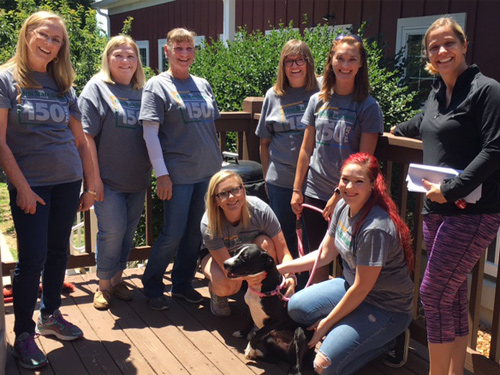 First State Bank employees volunteering at Five Acres Animal Shelter.